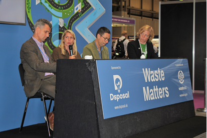 Photograph Waste Matters theatre RWM 2018 Andy Doran from Novelis Europe, Deborah Luffman from Finisterre, Ugo Vallauri from the Restart Project, Zoë Lenkiewicz from WasteAid