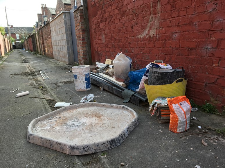 Back Alley Flytipping Photo Builders Waste Greater Manchester by Simon Pardoe